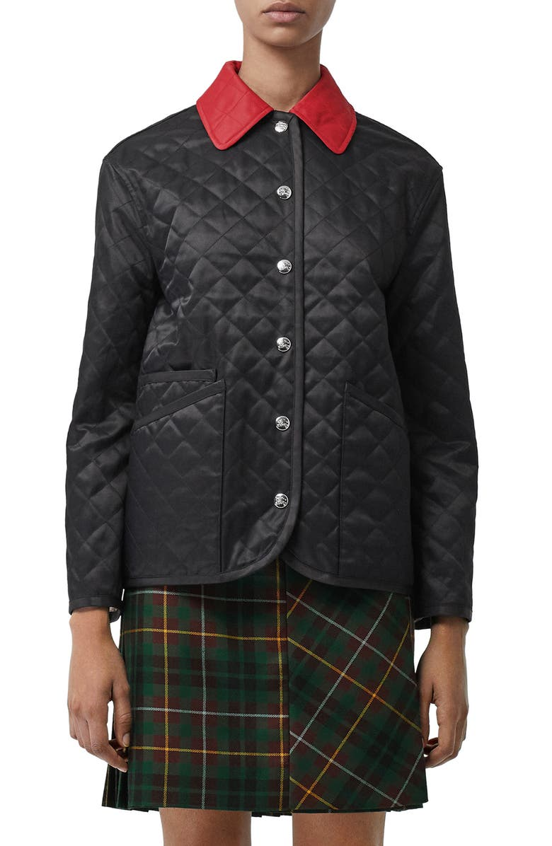 BURBERRY Dranefield Diamond Quilted Jacket, Main, color, 001