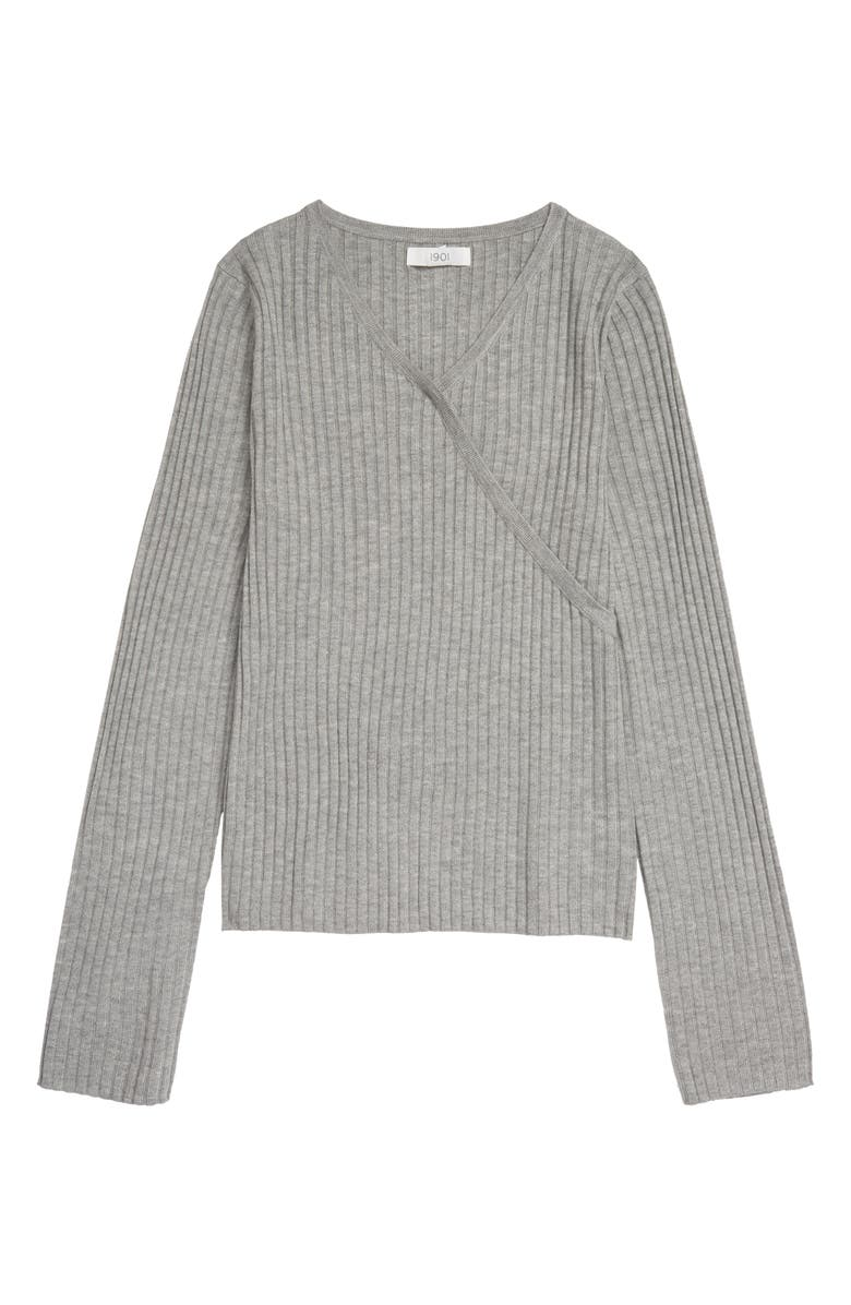 NORDSTROM 1901 Kids' Faux Wrap Ribbed Sweater, Main, color, GREY HEATHER
