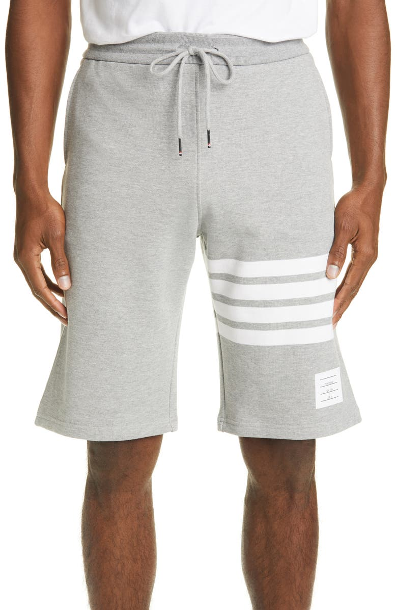 THOM BROWNE Four Bar Sweat Shorts, Main, color, LIGHT GREY