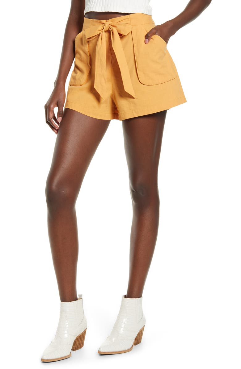 BAND OF GYPSIES Phoenix Tie Waist Shorts, Main, color, APRICOT