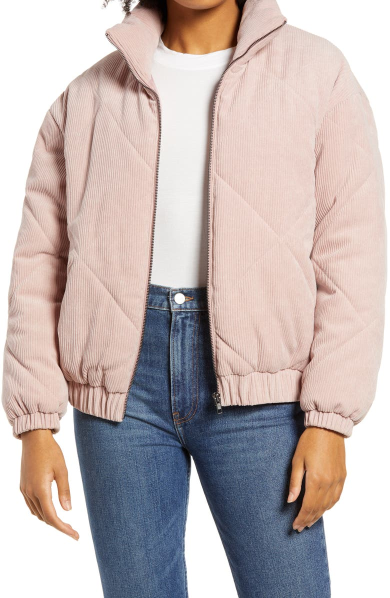 ALL IN FAVOR Quilted Corduroy Bomber Jacket, Main, color, DUSTY PINK