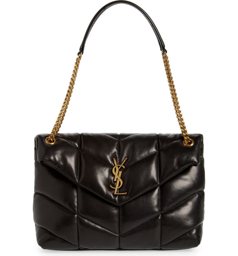 SAINT LAURENT Medium Loulou Puffer Quilted Leather Crossbody Bag, Main, color, NERO