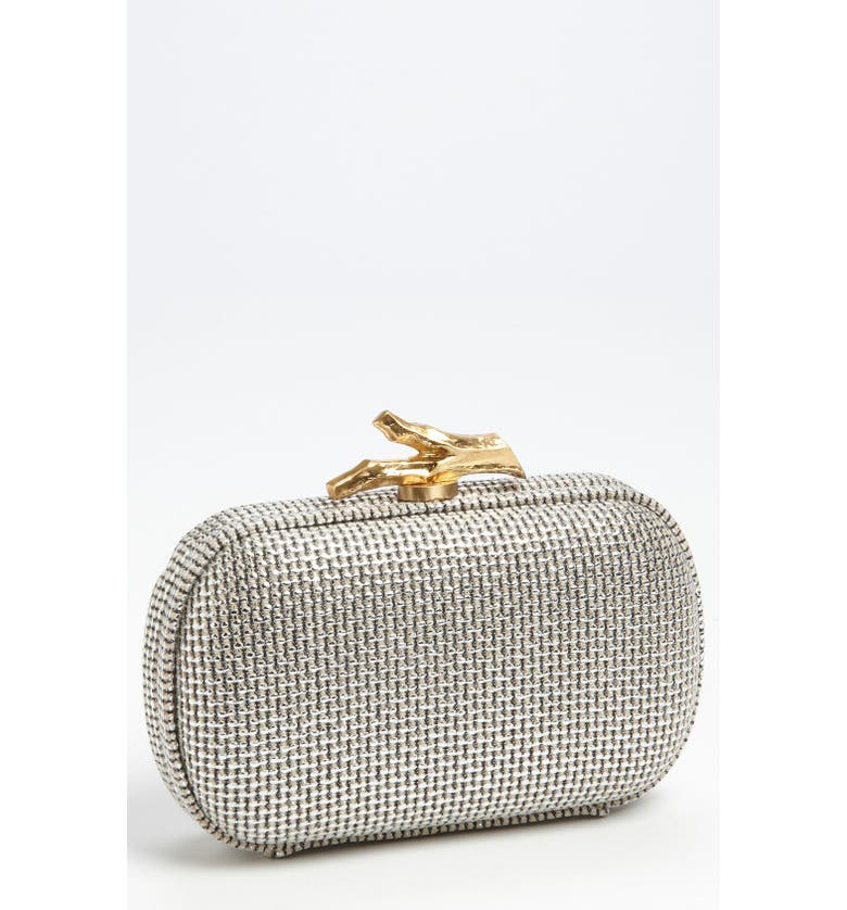 DIANE VON FURSTENBERG 'Lytton - Small' Metallic Canvas Clutch, Main, color, 040