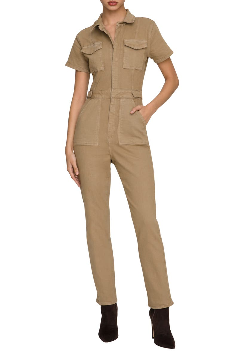 GOOD AMERICAN Fit for Success Stretch Cotton Twill Jumpsuit, Main, color, KHAKI