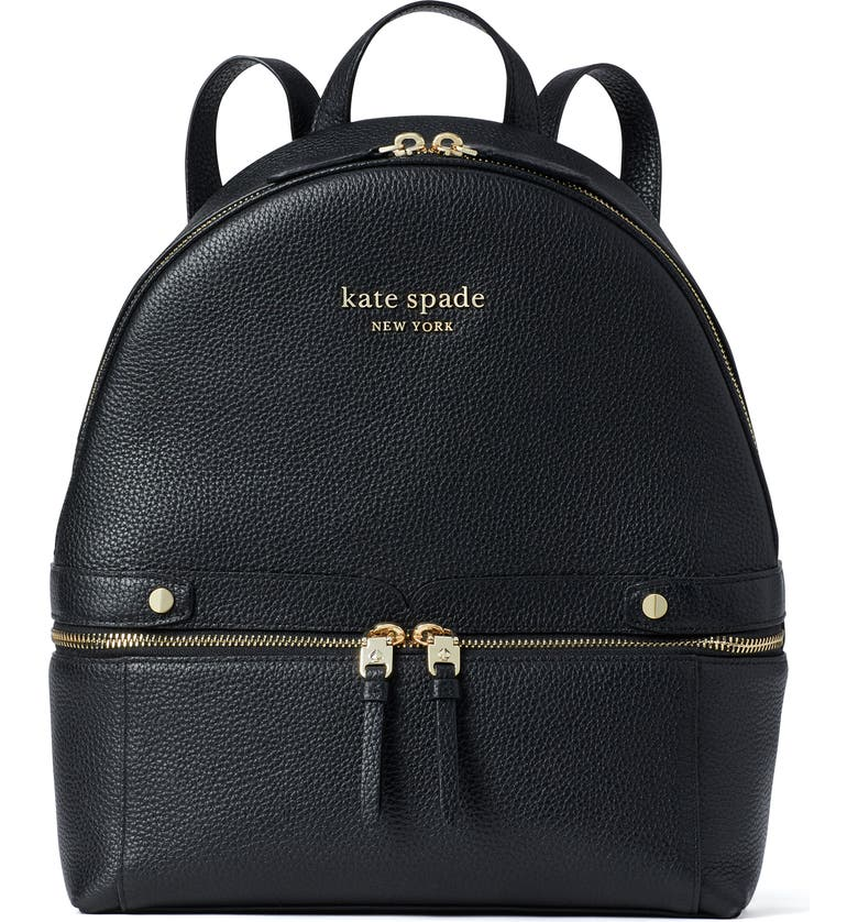KATE SPADE NEW YORK the day pack leather backpack, Main, color, BLACK