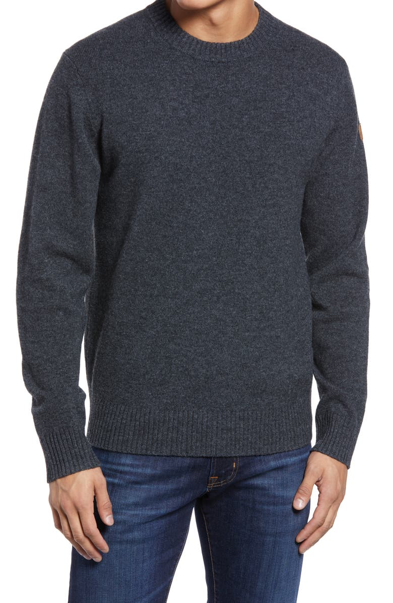 FJÄLLRÄVEN Vik Wool Crewneck Sweater, Main, color, DARK GREY