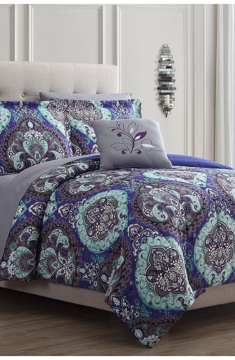 MODERN THREADS King Cathedral Reversible Complete Bed Set - Multi, Main, color, PURPLE/TEAL/GREY