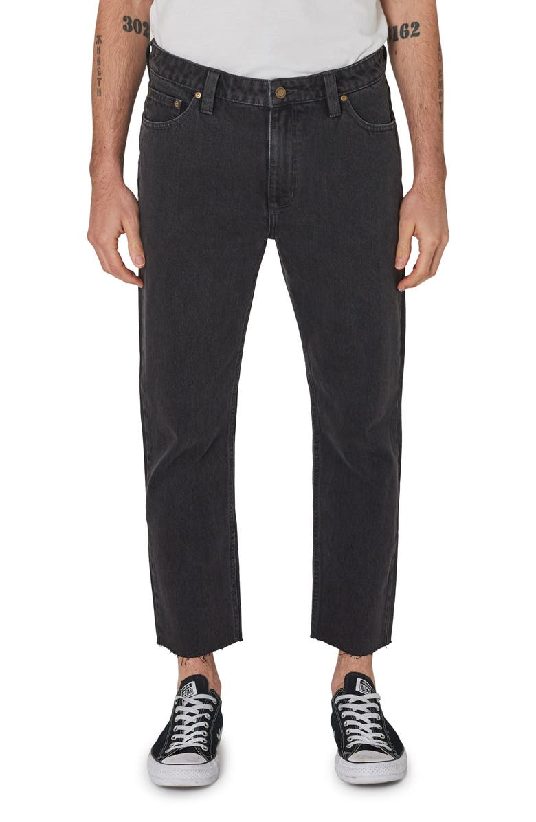 ROLLA'S ROLLA'S Relaxo Chop Crop Nonstretch Jeans, Main, color, STONED BLACK