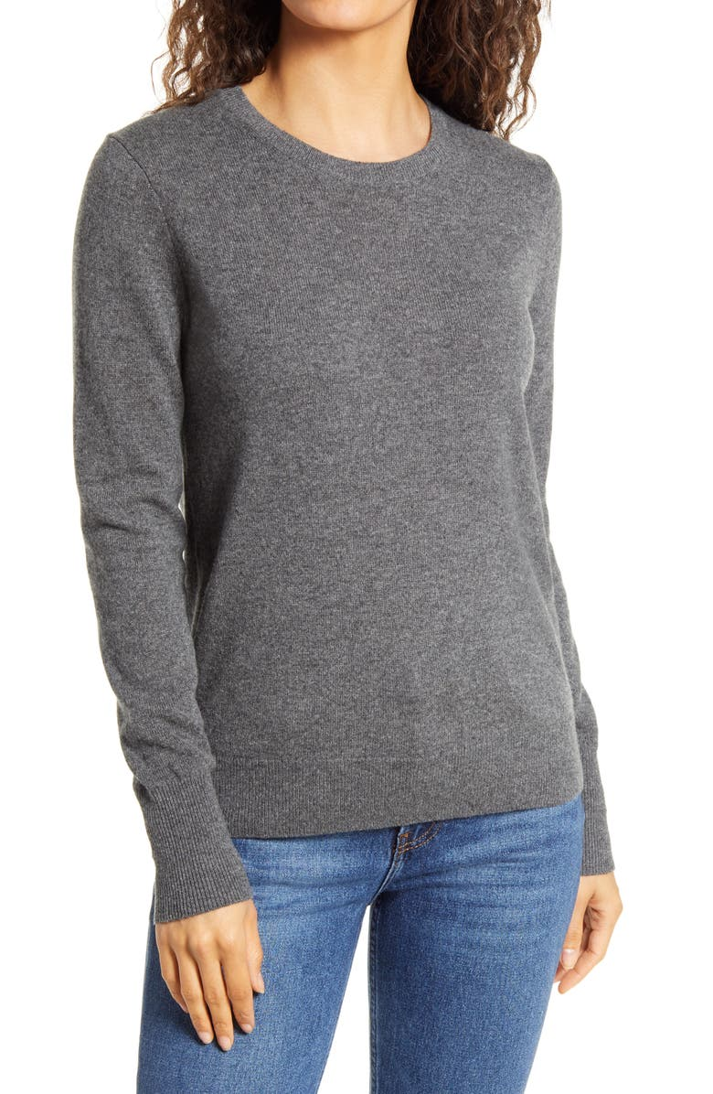 EVERLANE The Cashmere Crew Sweater, Main, color, CHARCOAL