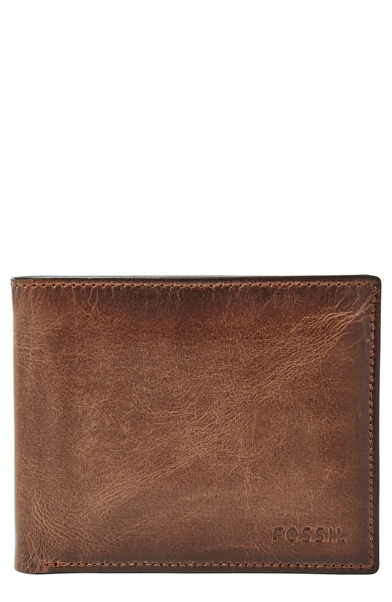 FOSSIL 'Derrick' Leather Flip Trifold Wallet, Main, color, 200