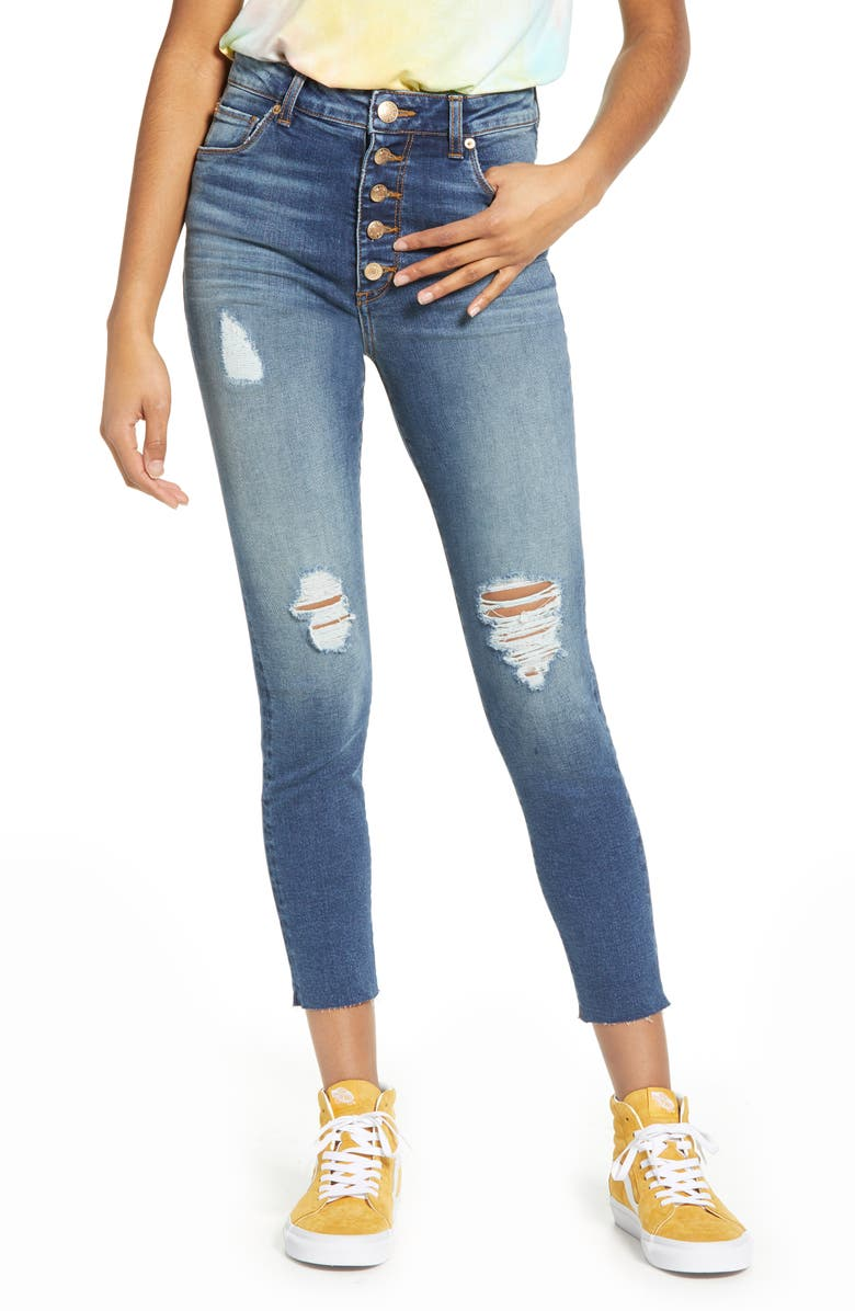 STS BLUE Ellie Ripped High Waist Crop Skinny Jeans, Main, color, 438