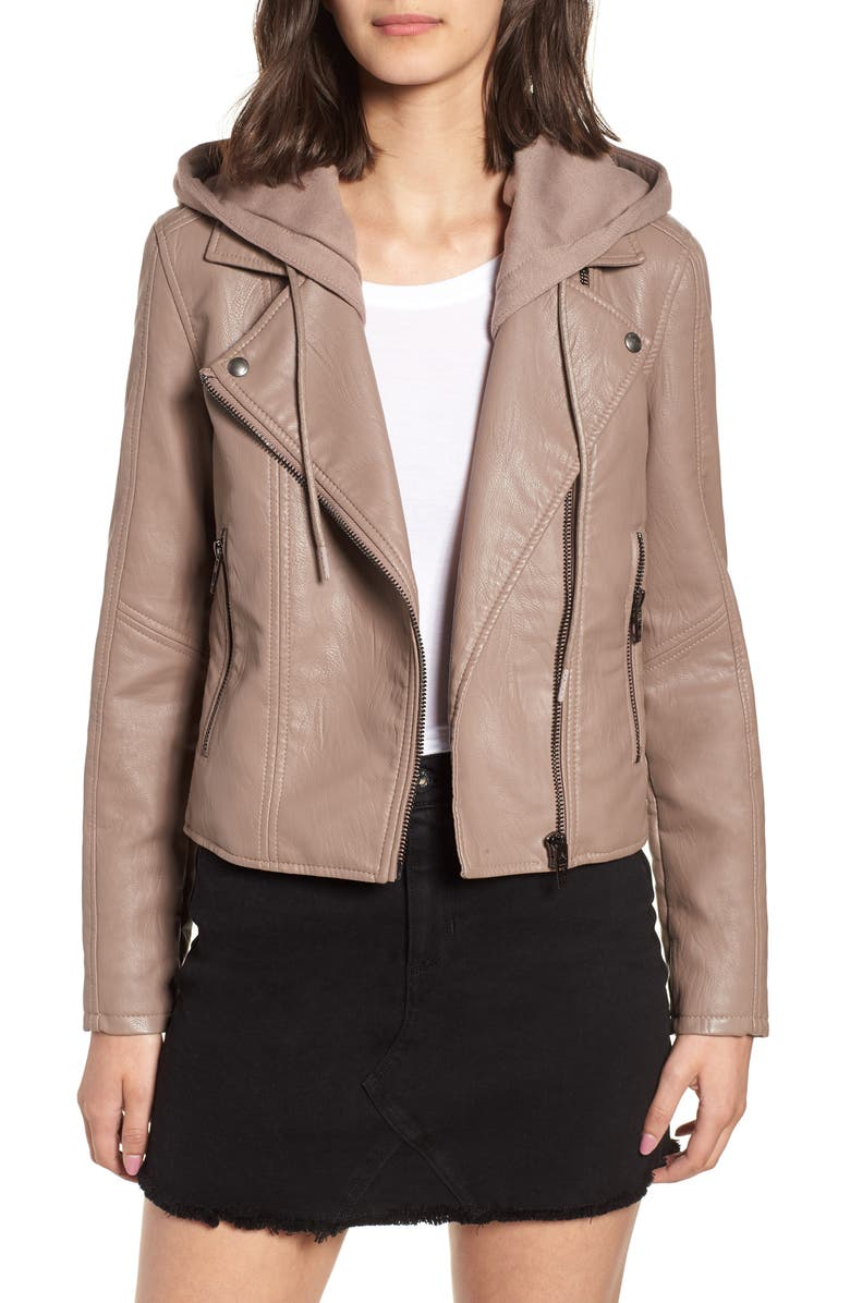 BLANKNYC Meant to Be Moto Jacket with Removable Hood, Main, color, MUSHROOM