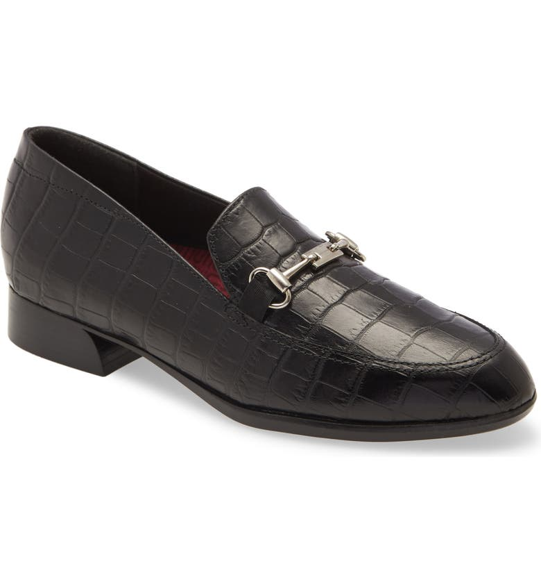MUNRO Harrison III Bit Loafer, Main, color, BLACK EMBOSSED LEATHER