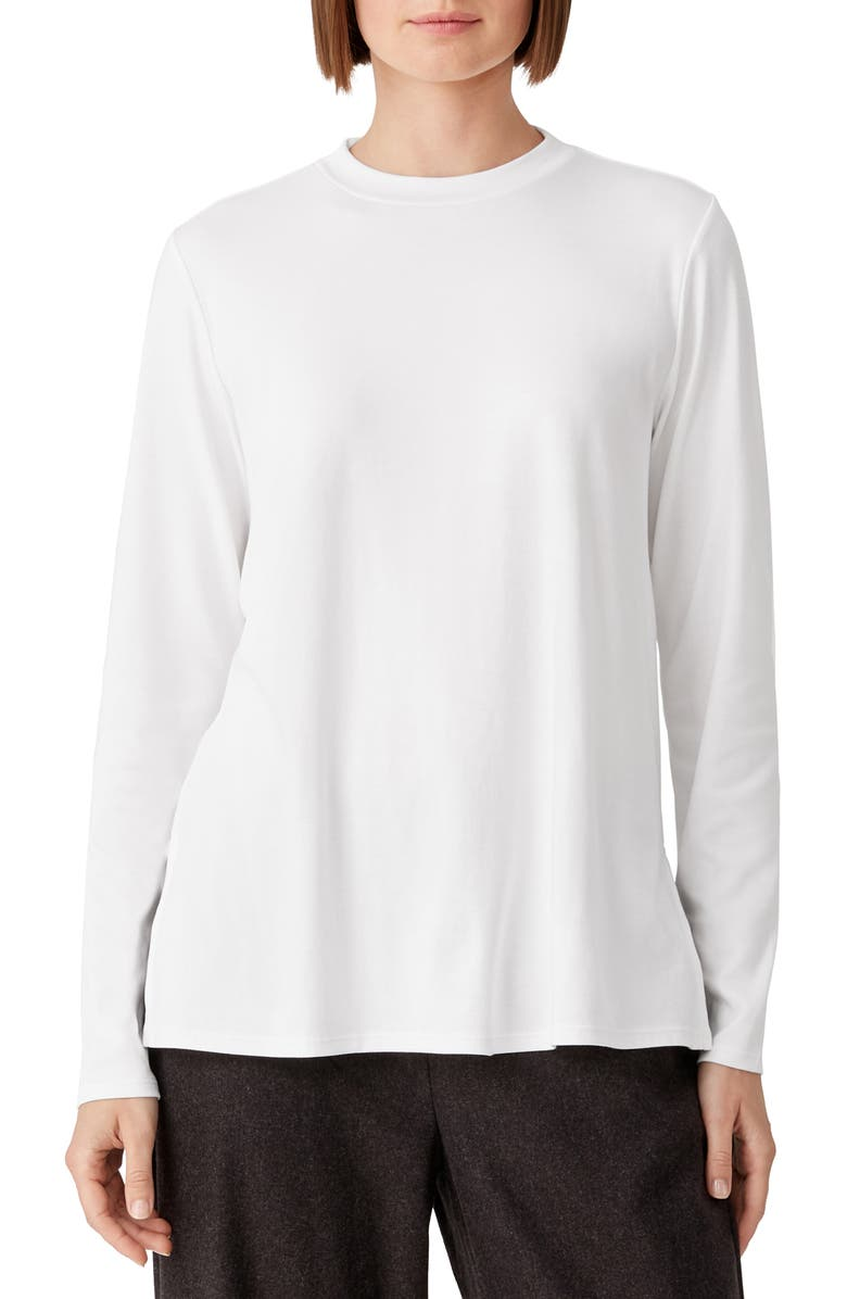 EILEEN FISHER Long Sleeve Organic Cotton Top, Main, color, WHITE