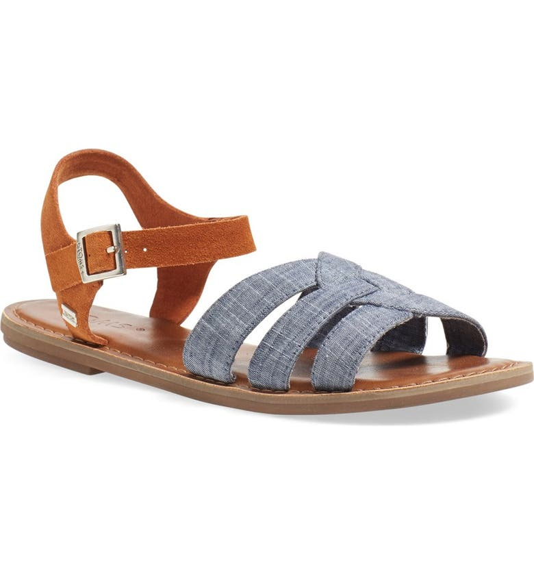 TOMS 'Zoe' Chambray Flat Quarter Strap Sandal, Main, color, CHAMBRAY/ BROWN SUEDE
