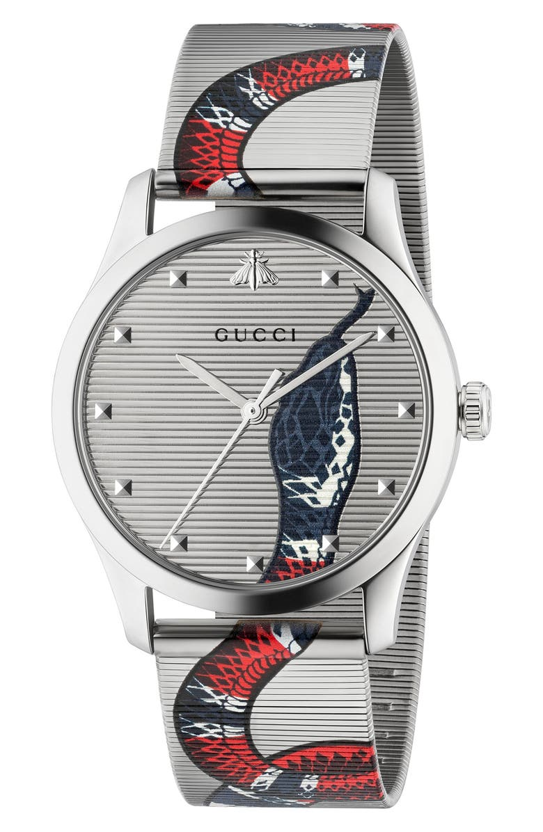 GUCCI G-Timeless Snake Mesh Strap Watch, 38mm, Main, color, Silver