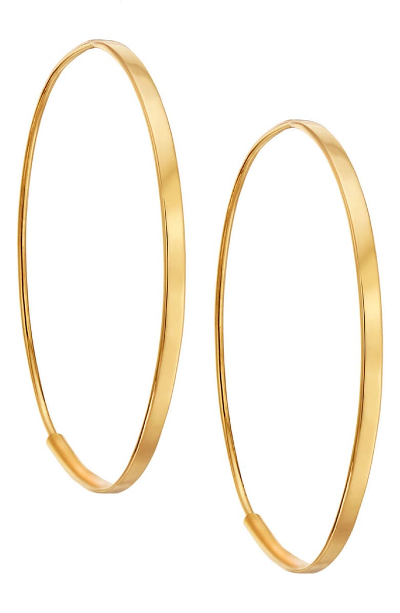 LANA JEWELRY Small Flat Oval Hoop Earrings, Main, color, YELLOW GOLD