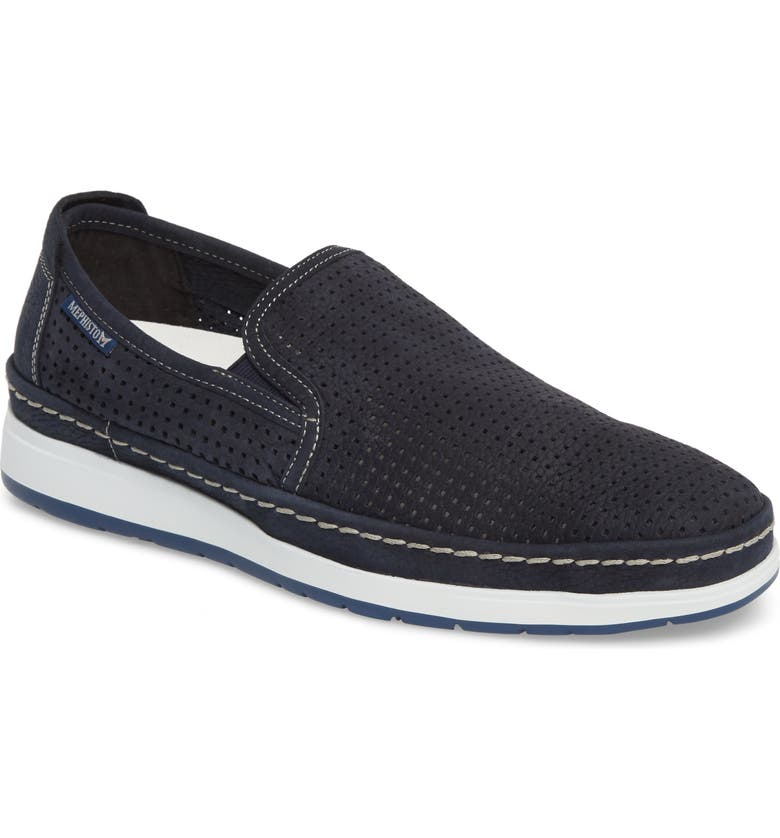 MEPHISTO Hadrian Perforated Slip-On, Main, color, NAVY