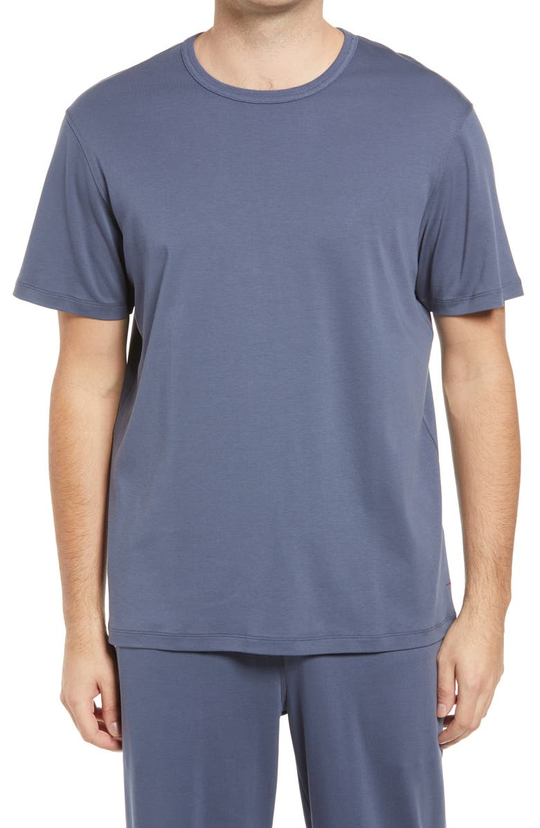 DANIEL BUCHLER Men's Cotton & Silk T-Shirt, Main, color, DARK DENIM