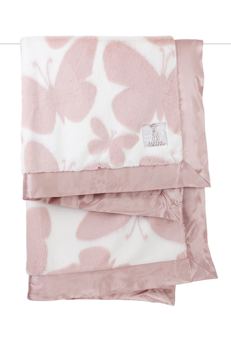 LITTLE GIRAFFE Luxe<sup>™</sup> Butterfly Baby Blanket, Main, color, DUSTY PINK