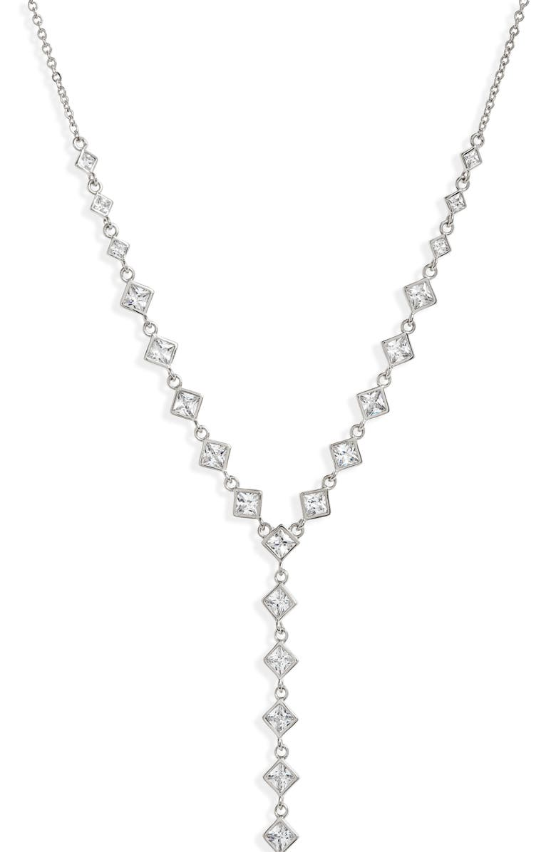 NORDSTROM Cubic Zirconia Y-Necklace, Main, color, 040