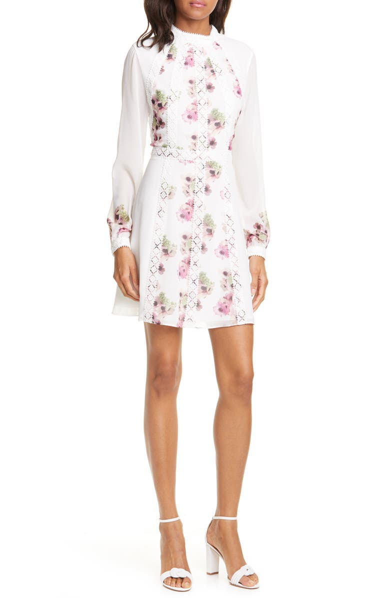 TED BAKER LONDON Sundee Floral Lace Trim Long Sleeve Minidress, Main, color, 900
