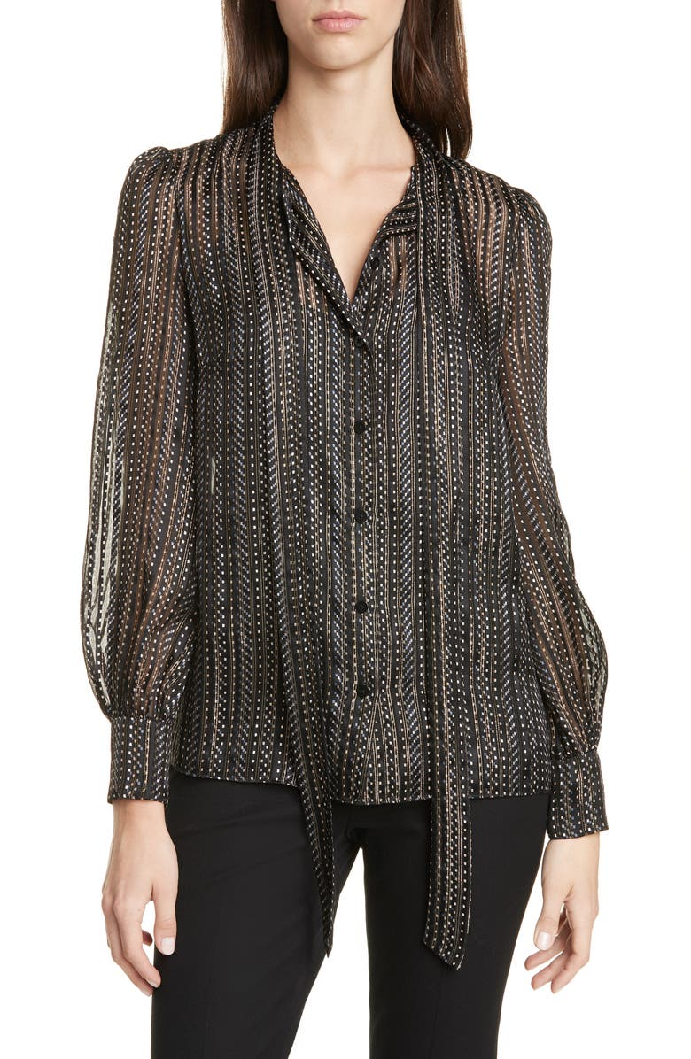 DVF Lanie Tie Neck Blouse, Main, color, 001