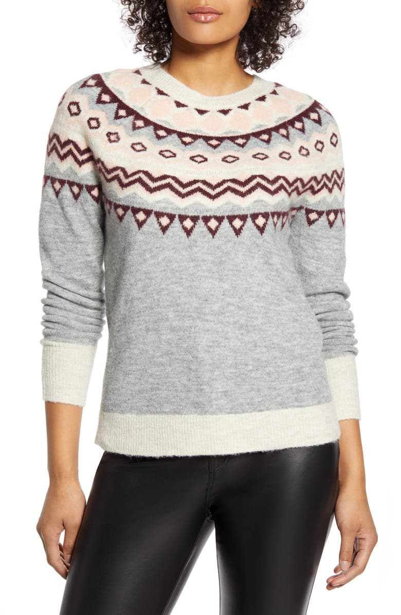 HALOGEN<SUP>®</SUP> x Atlantic-Pacific Fair Isle Sweater, Main, color, 030