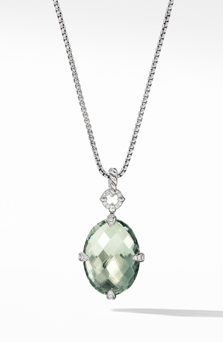 DAVID YURMAN Châtelaine<sup>®</sup> Small Pendant Necklace, Main, color, SILVER/ DIAMOND/ PRASIOLITE