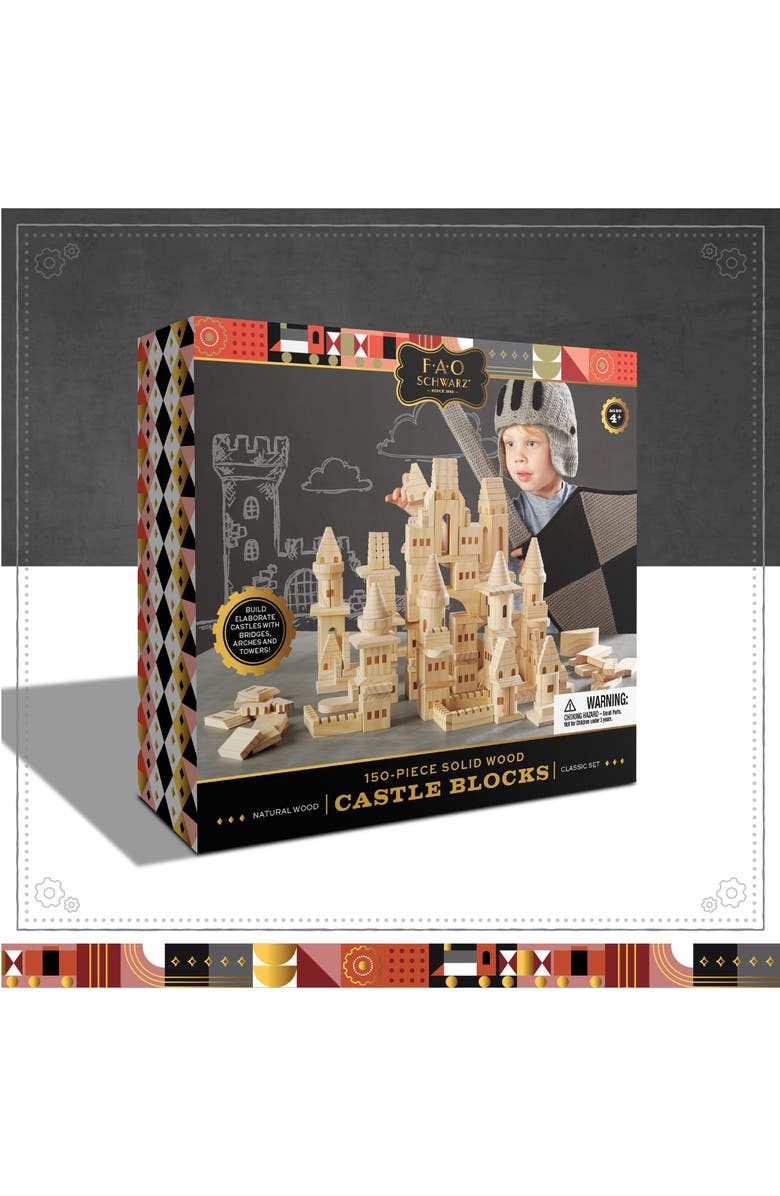 FAO SCHWARZ 150-Piece Wood Castle Building Block Set, Main, color, BEIGE