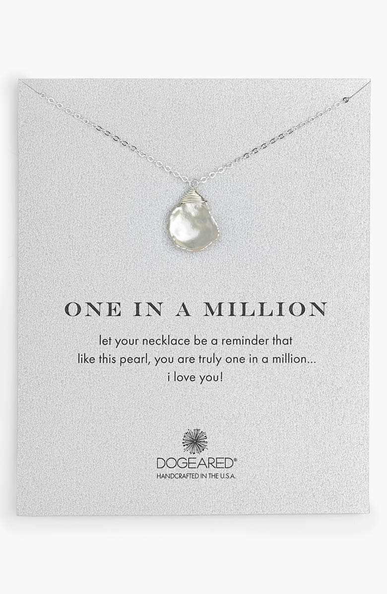 DOGEARED 'One in a Million' Keshi Pearl Necklace, Main, color, 040