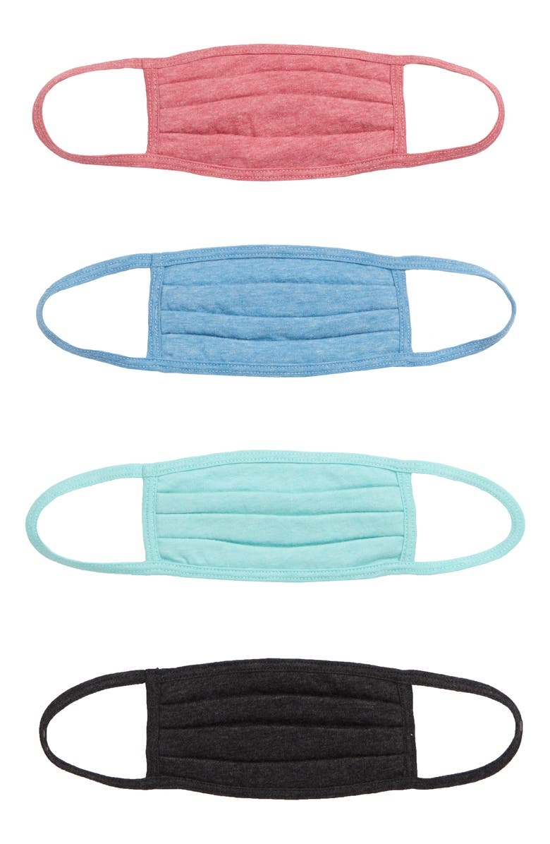 NORDSTROM 4-Pack Kids' Pleated Face Masks, Main, color, KNIT HEATHERED PACK
