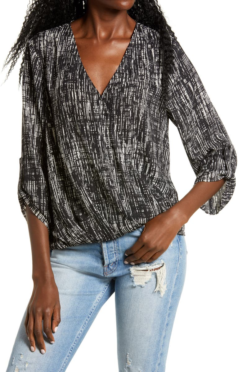 ALL IN FAVOR Twist Hem Top, Main, color, BLACK ABSTRACT