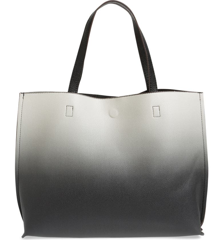 STREET LEVEL Reversible Faux Leather Tote, Main, color, BLACK