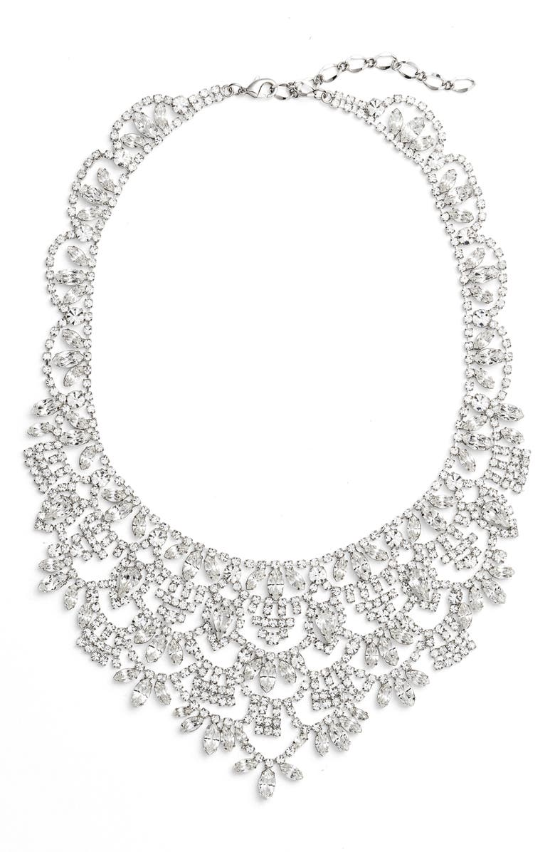 CRISTABELLE Crystal Bib Necklace, Main, color, Silver