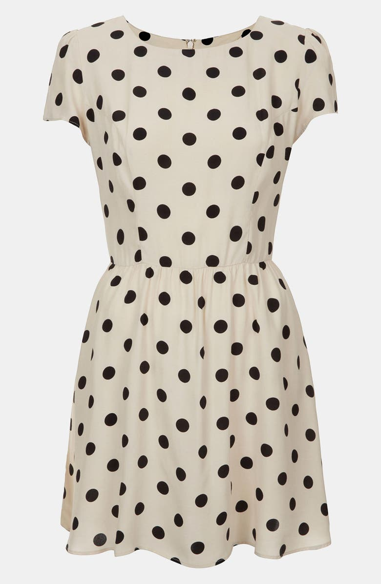 TOPSHOP Polka Dot Skater Dress, Main, color, 900