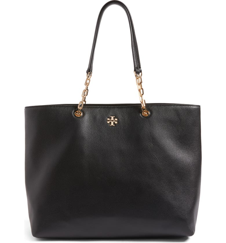 TORY BURCH Frida Pebbled Leather Tote, Main, color, 001