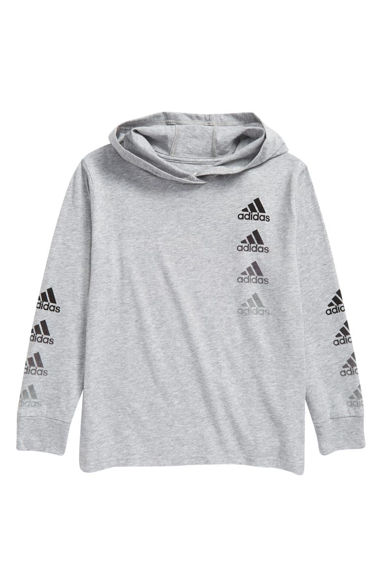 ADIDAS Kids' Badge of Sport Repeat Graphic Hooded Pullover, Main, color, GREY HEATHER