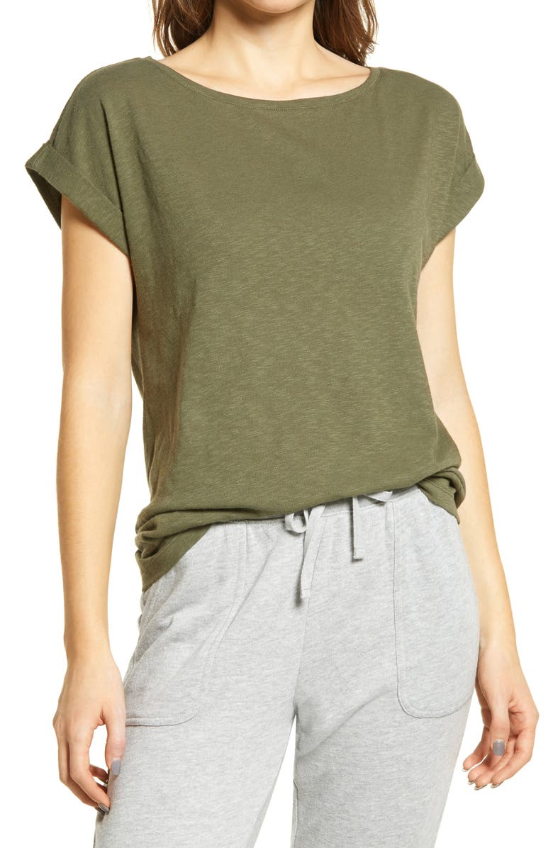 CASLON Roll Sleeve High/Low Tunic Top, Main, color, GREEN BEETLE