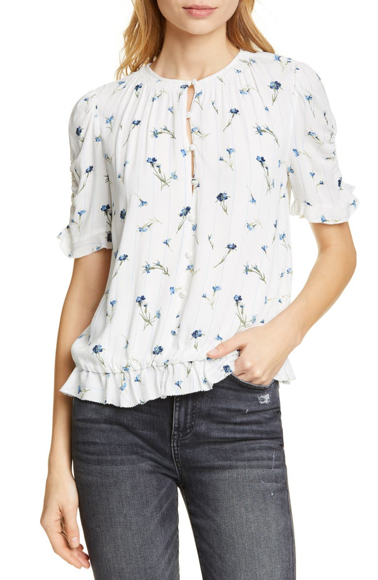 JOIE Vonny Floral Ruched Sleeve Blouse, Main, color, 900