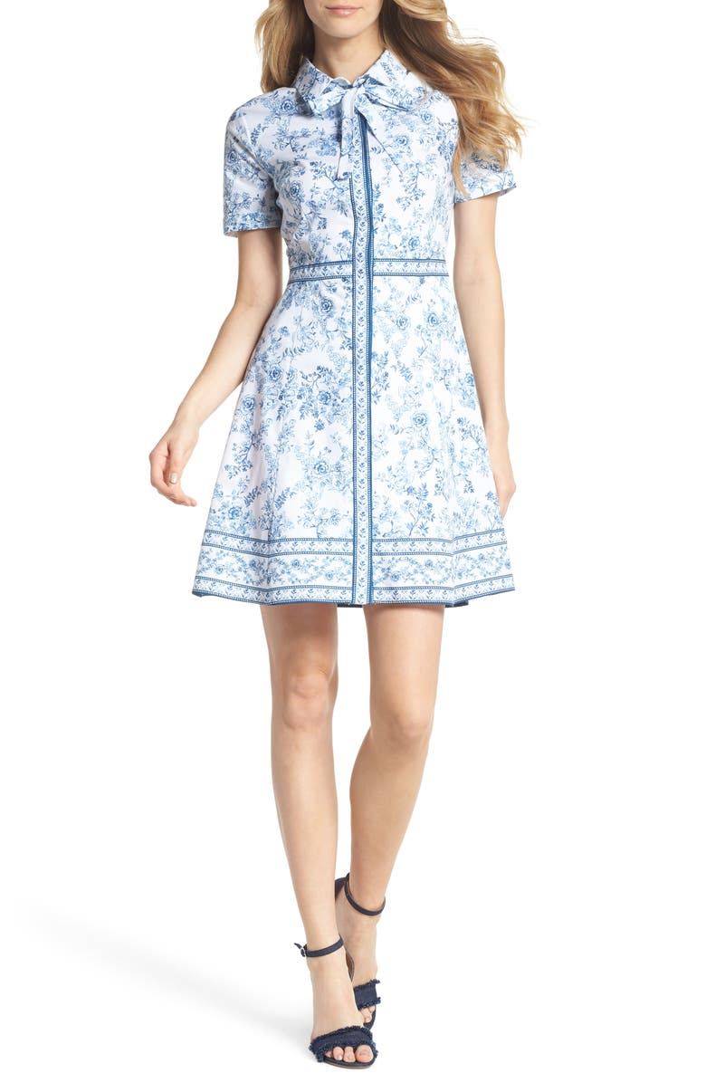 GAL MEETS GLAM COLLECTION Darla Cotton Toile Shirtdress, Main, color, CLOUD/ CORNFLOWER