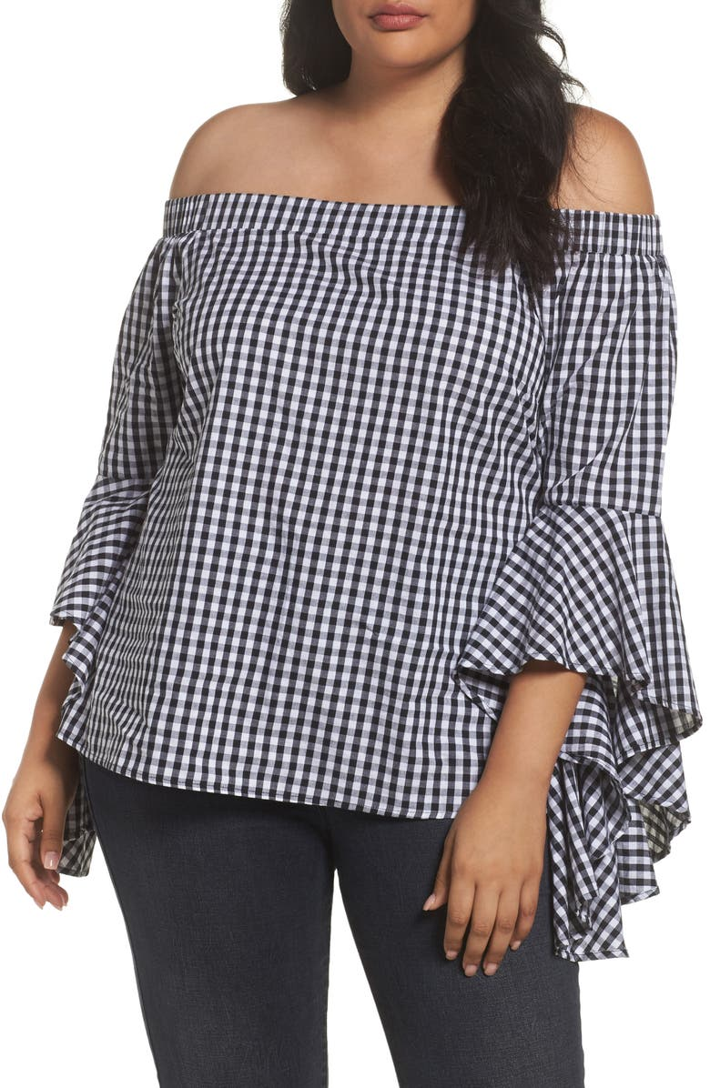 CITY CHIC Bell Sleeve Off the Shoulder Shirt, Main, color, BLACK / WHITE