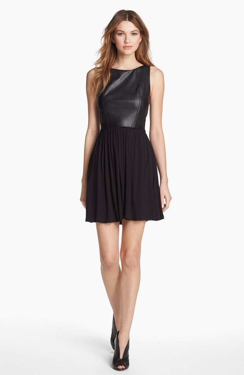 B44 DRESSED BY BAILEY 44 Faux Leather Fit & Flare Dress, Main, color, 001