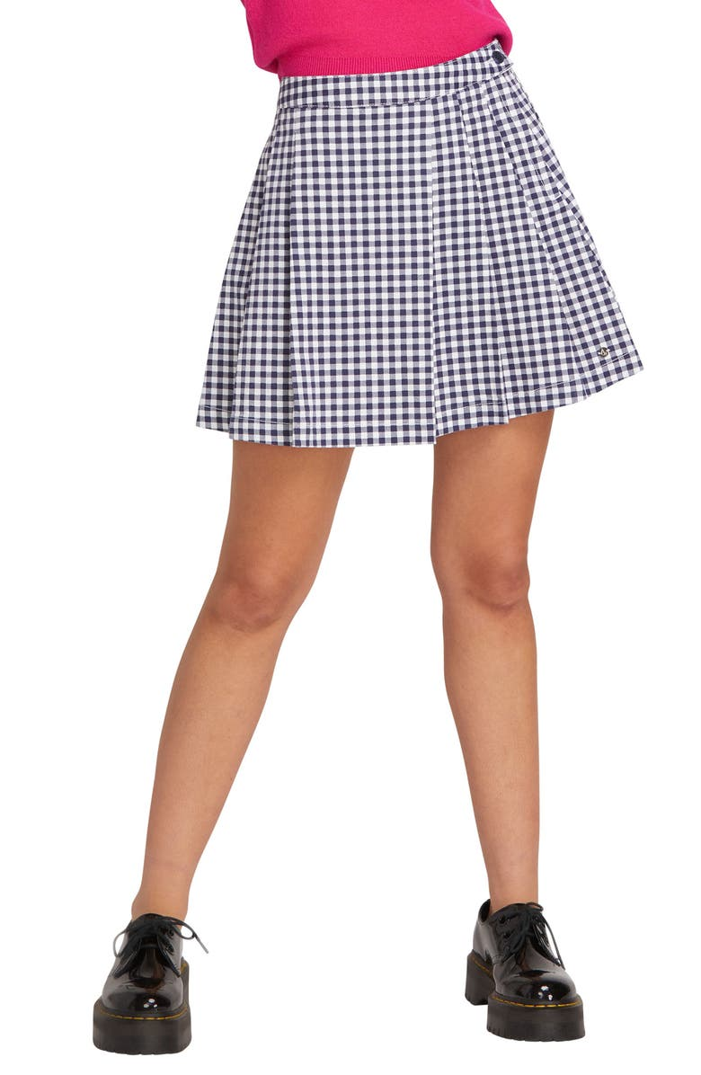 VOLCOM x Georgia May Jagger Frochickie Gingham Miniskirt, Main, color, BLUE MID