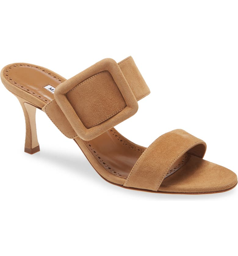 MANOLO BLAHNIK Gable Buckle Slide Sandal, Main, color, BROWN