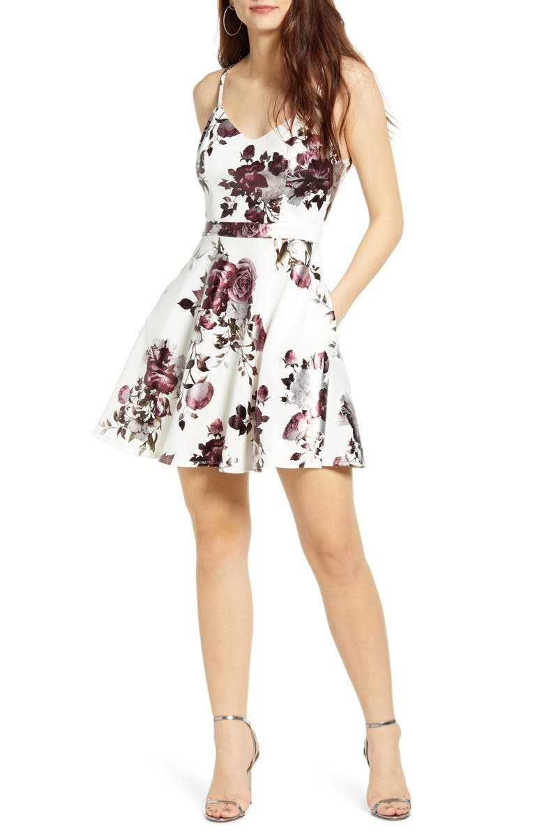 SPEECHLESS Metallic Floral Print Lace Back Fit & Flare Minidress, Main, color, IVORY MERLOT