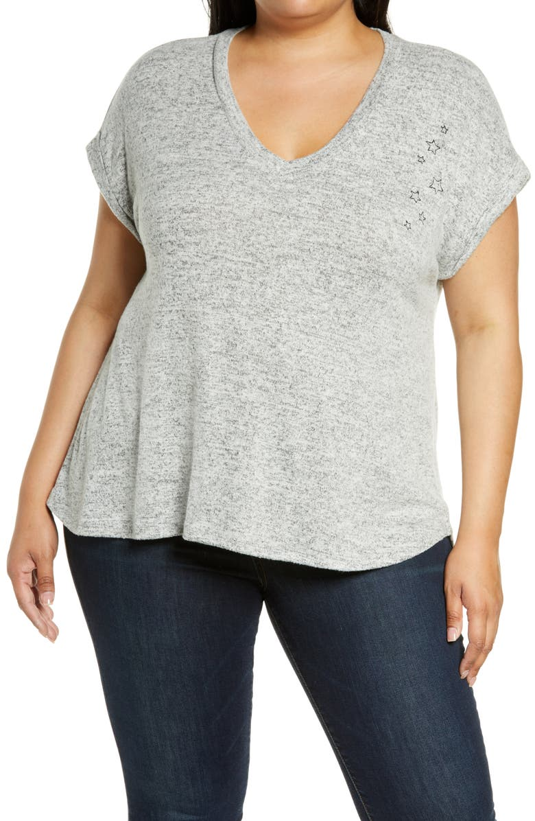 BOBEAU Cozy Embroidered T-Shirt, Main, color, HEATHER GREY BLACK STARS