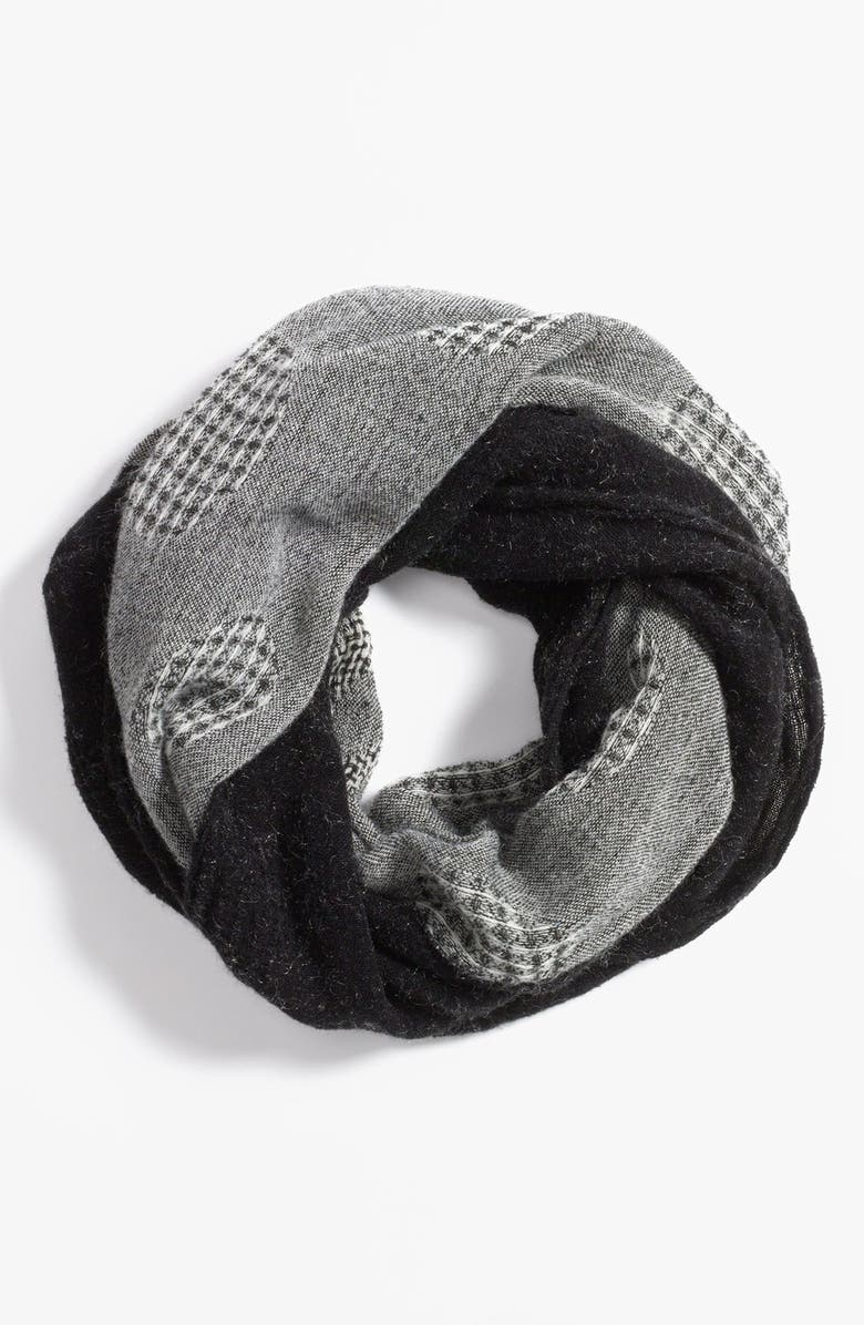 LEITH Mixed Media Infinity Scarf, Main, color, BLACK WHITE