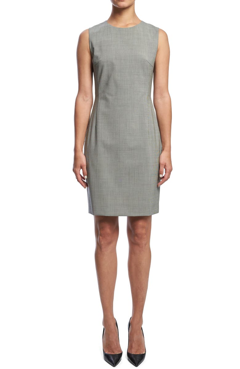 THEORY Sleeveless Seam Fitted Stretch Wool Dress, Main, color, 001