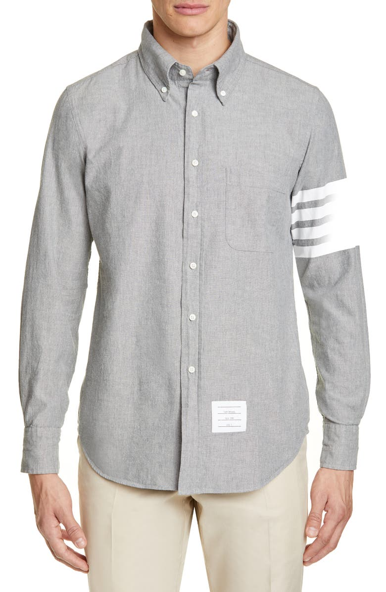 THOM BROWNE 4-Bar Straight Fit Chambray Button-Down Shirt, Main, color, 035
